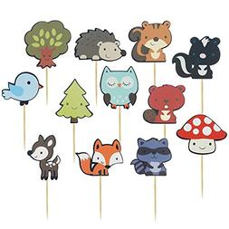 iMagitek 36 Pcs Woodland Creatures Theme Cake Toppers Forest