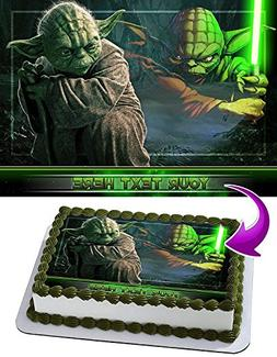 Yoda Star Wars Edible Cake Topper Personalized Birthday 1/2