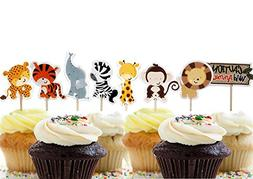 Bilipala 24 Count Zoo Animal Cupcake Toppers Picks, Puffy Pi